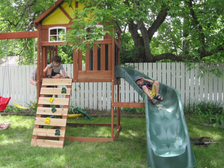 A wooden play structure.