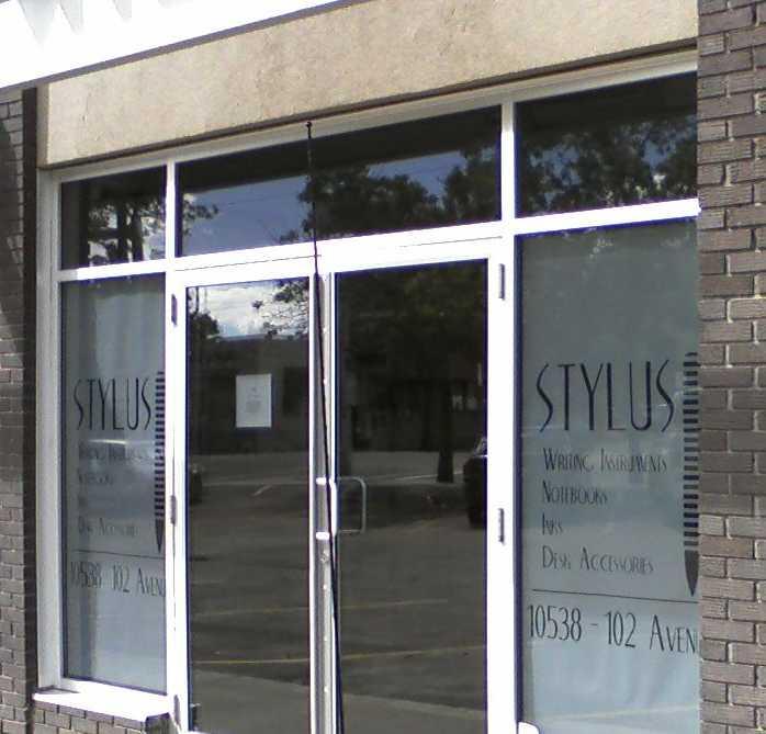The front door of Stylus, a pen shop in Edmonton.