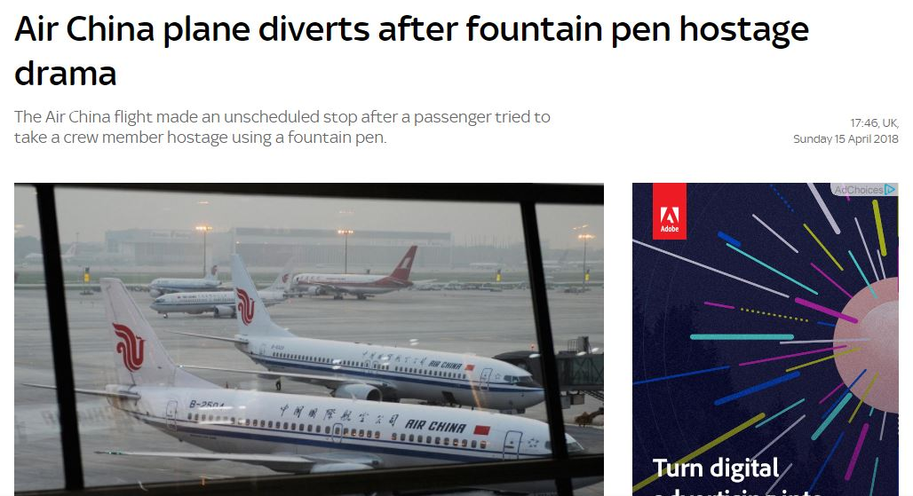 Picture of several Air China planes at a terminal, under headline AIR CHINA PLANE DIVERTS AFTER FOUNTAIN PEN HOSTAGE DRAMA